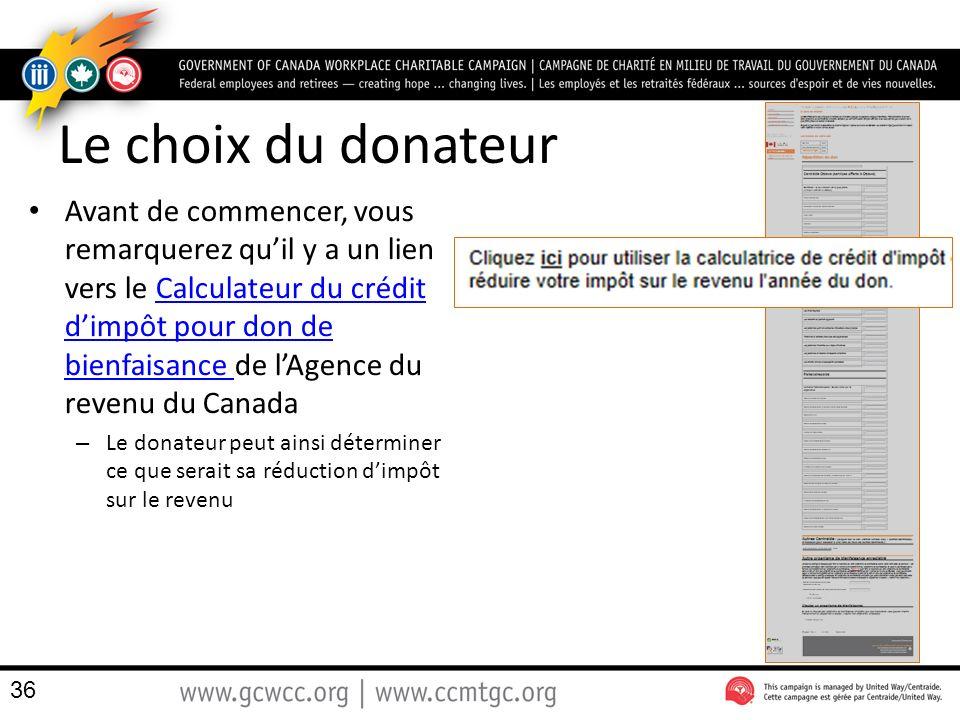Le choix du donateur