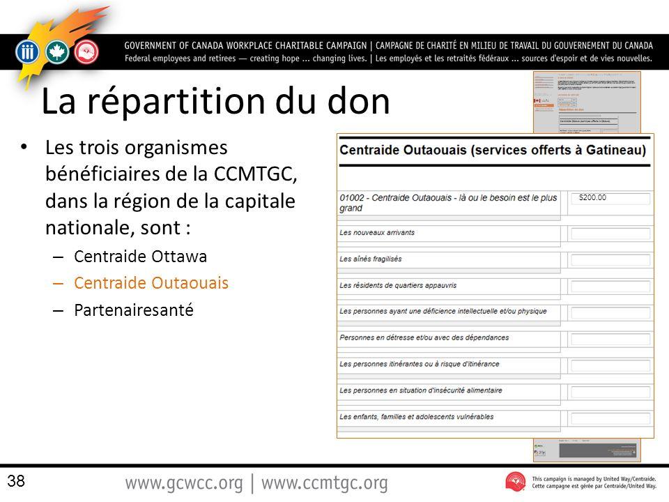 La répartition du don Les trois organismes bénéficiaires de la CCMTGC, dans la région de la capitale nationale, sont :