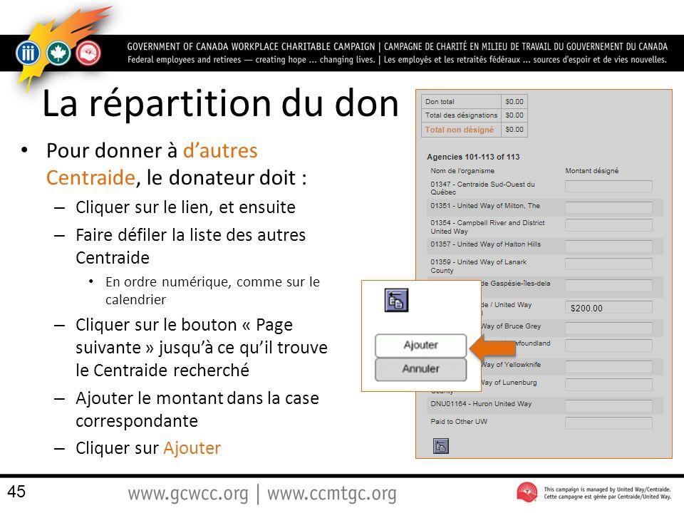 La répartition du don Pour donner à d'autres Centraide, le donateur doit : Cliquer sur le lien, et ensuite.