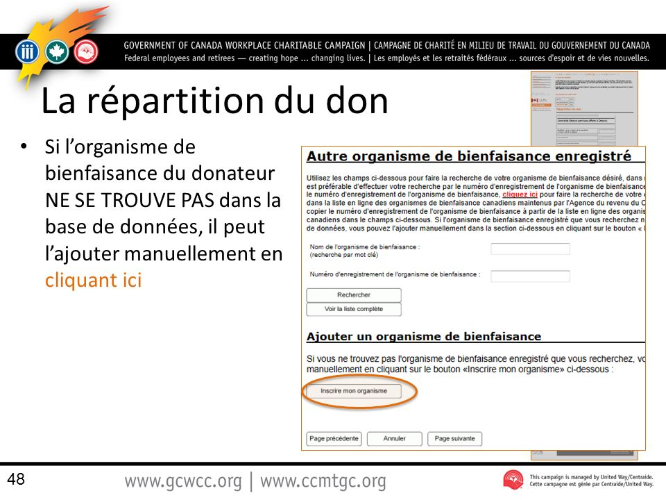 La répartition du don