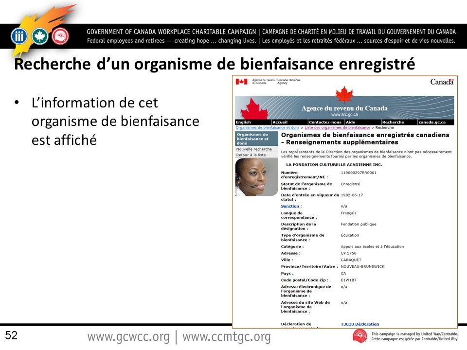 Recherche d'un organisme de bienfaisance enregistré