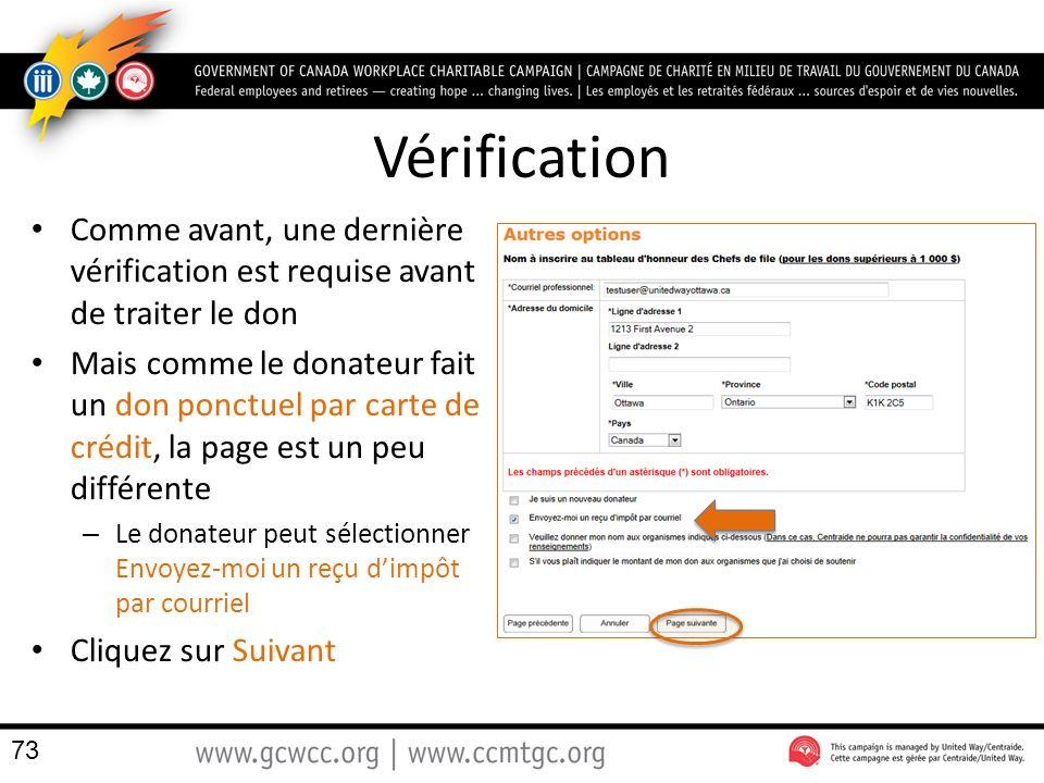 Vérification Comme avant, une dernière vérification est requise avant de traiter le don.