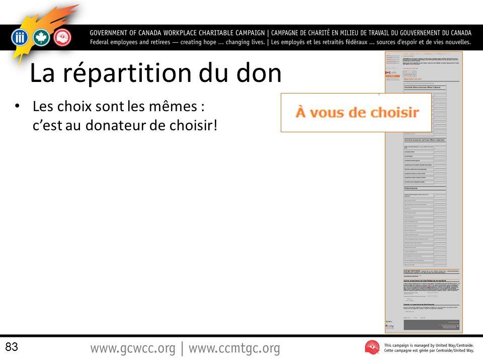 La répartition du don Les choix sont les mêmes : c'est au donateur de choisir!