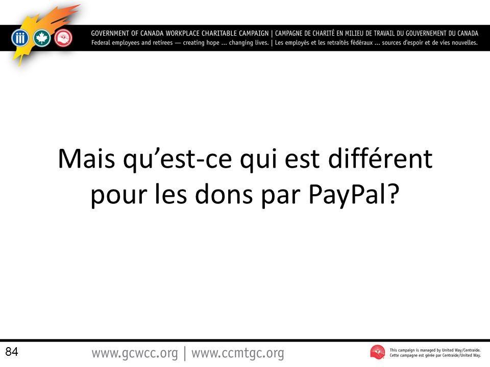 Mais qu'est-ce qui est différent pour les dons par PayPal