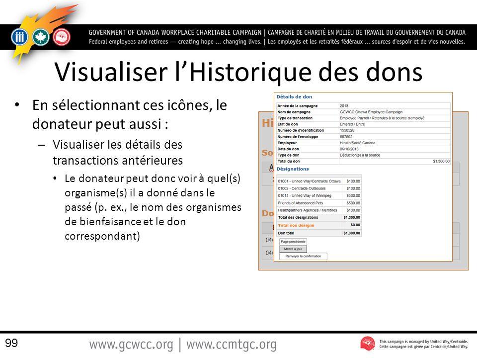 Visualiser l'Historique des dons