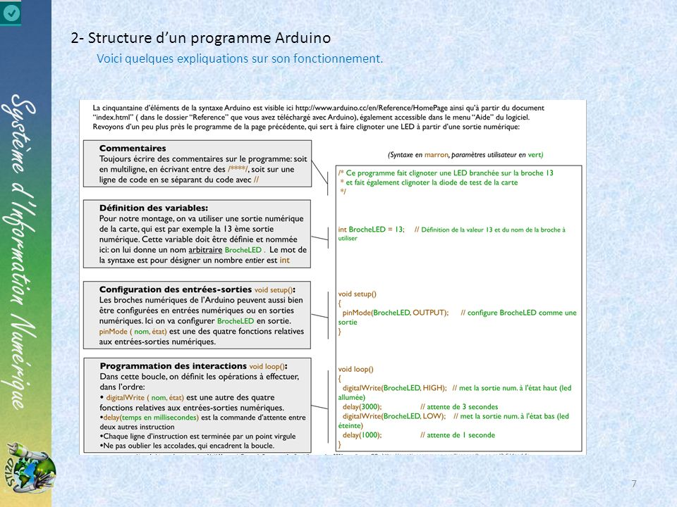 2- Structure d'un programme Arduino