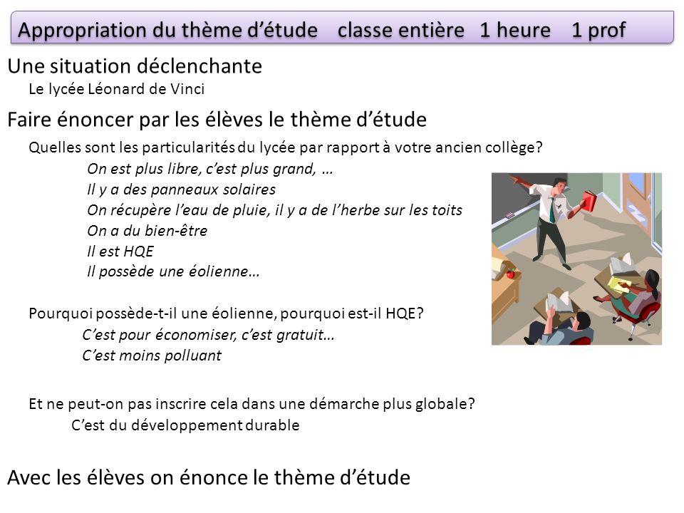 Appropriation du thème d'étude classe entière 1 heure 1 prof