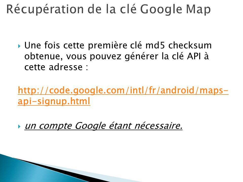 Récupération de la clé Google Map