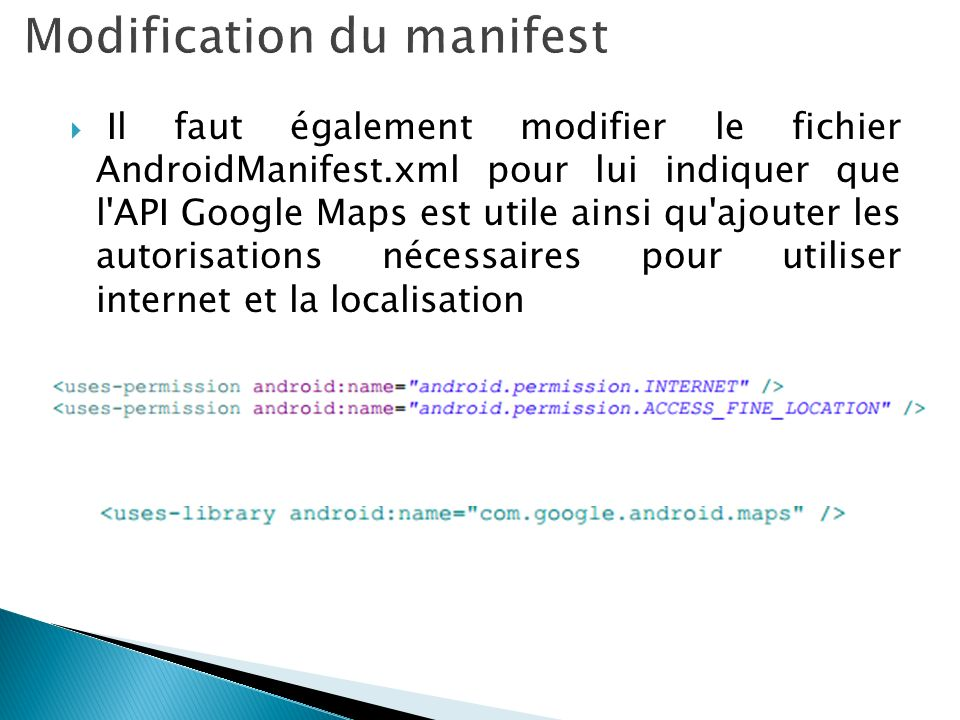 Modification du manifest