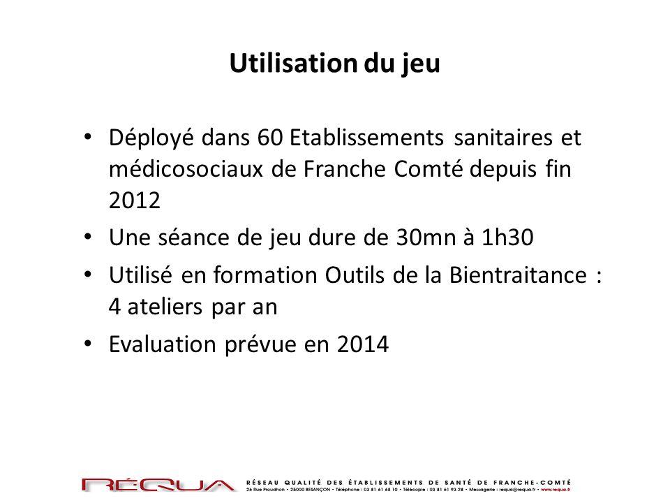 Utilisation du jeuDéployé dans 60 Etablissements sanitaires et médicosociaux de Franche Comté depuis fin 2012.