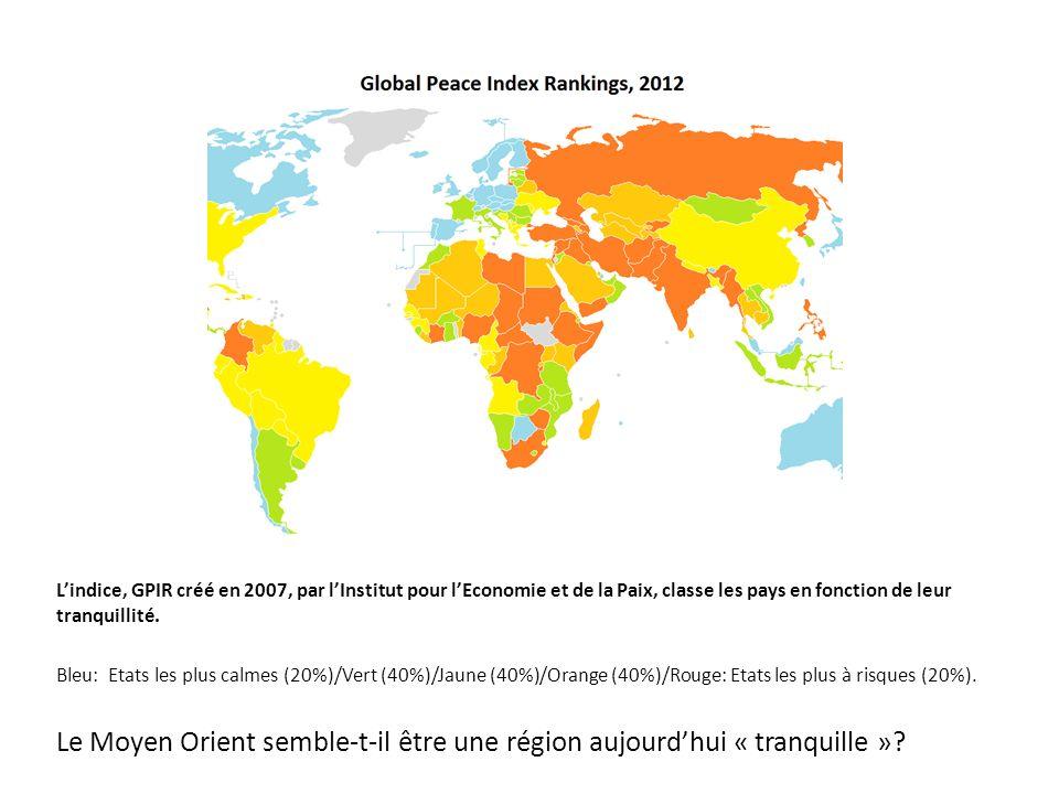L'indice, GPIR créé en 2007, par l'Institut pour l'Economie et de la Paix, classe les pays en fonction de leur tranquillité.