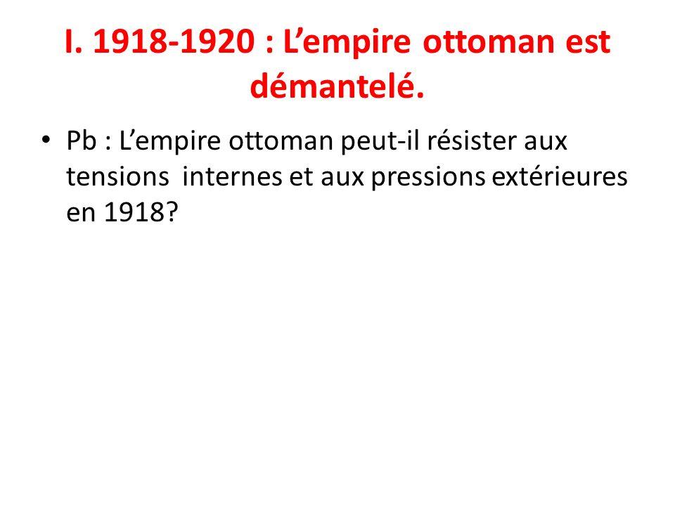 I. 1918-1920 : L'empire ottoman est démantelé.