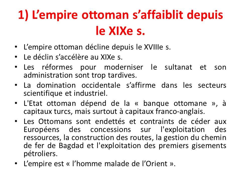 1) L'empire ottoman s'affaiblit depuis le XIXe s.