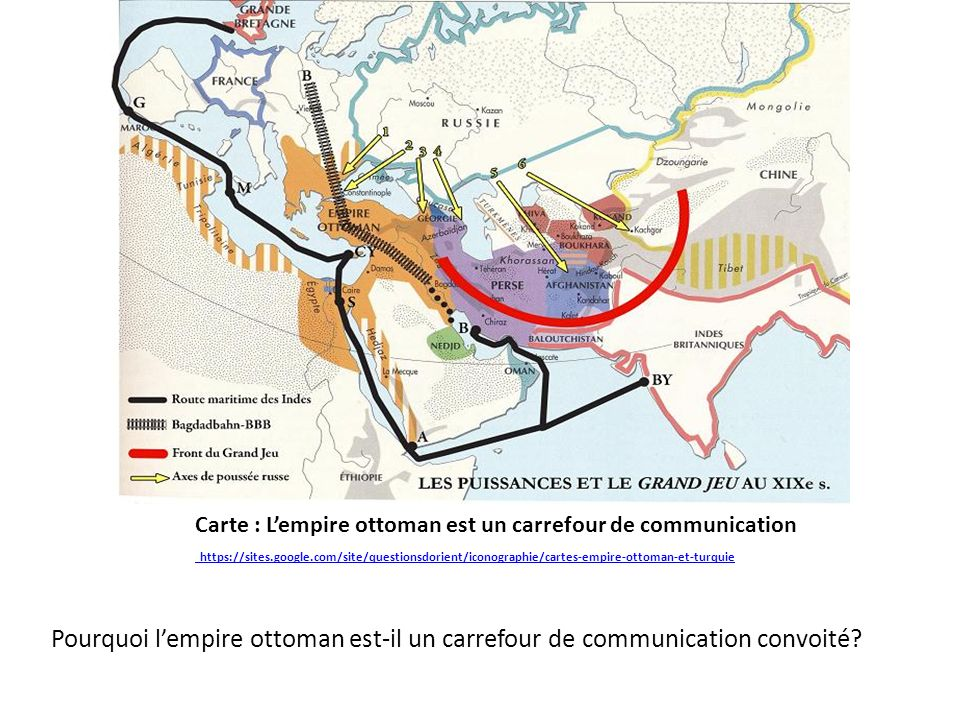 Carte : L'empire ottoman est un carrefour de communication https://sites.google.com/site/questionsdorient/iconographie/cartes-empire-ottoman-et-turquie