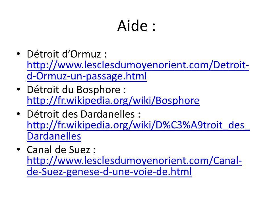 Aide : Détroit d'Ormuz : http://www.lesclesdumoyenorient.com/Detroit-d-Ormuz-un-passage.html.