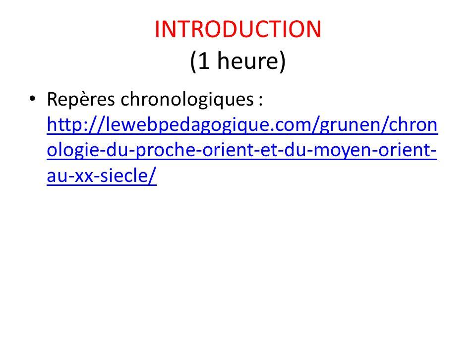 INTRODUCTION (1 heure) Repères chronologiques : http://lewebpedagogique.com/grunen/chronologie-du-proche-orient-et-du-moyen-orient-au-xx-siecle/