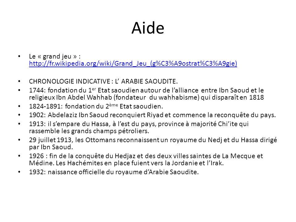 Aide Le « grand jeu » : http://fr.wikipedia.org/wiki/Grand_Jeu_(g%C3%A9ostrat%C3%A9gie) CHRONOLOGIE INDICATIVE : L' ARABIE SAOUDITE.