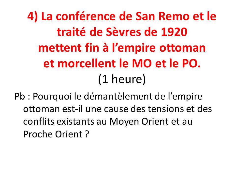 4) La conférence de San Remo et le traité de Sèvres de 1920 mettent fin à l'empire ottoman et morcellent le MO et le PO. (1 heure)