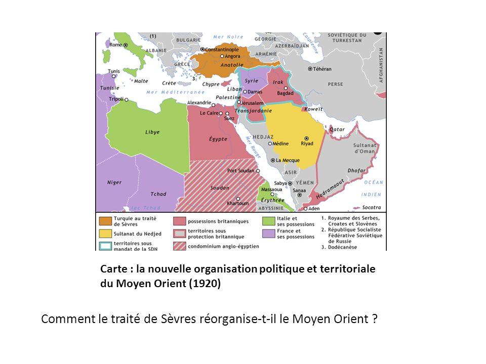 Comment le traité de Sèvres réorganise-t-il le Moyen Orient