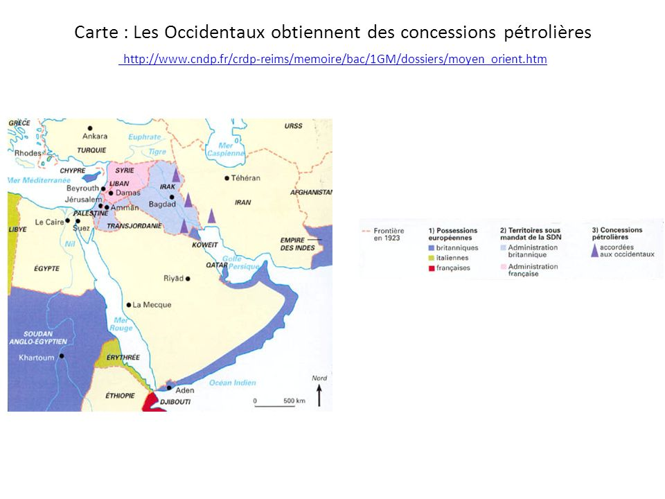 Carte : Les Occidentaux obtiennent des concessions pétrolières http://www.cndp.fr/crdp-reims/memoire/bac/1GM/dossiers/moyen_orient.htm