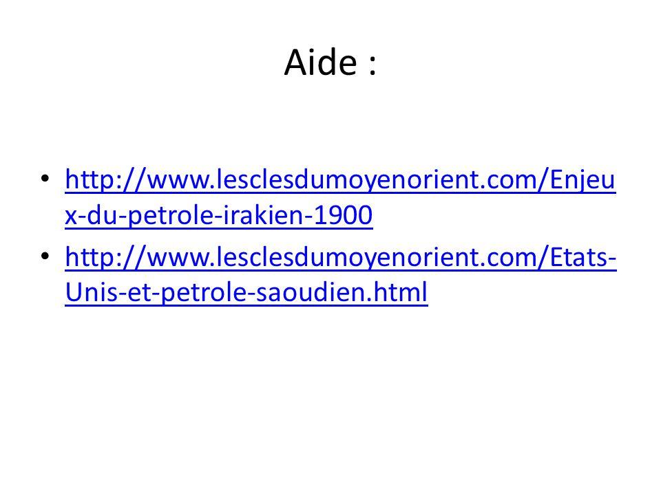 Aide : http://www.lesclesdumoyenorient.com/Enjeux-du-petrole-irakien-1900.