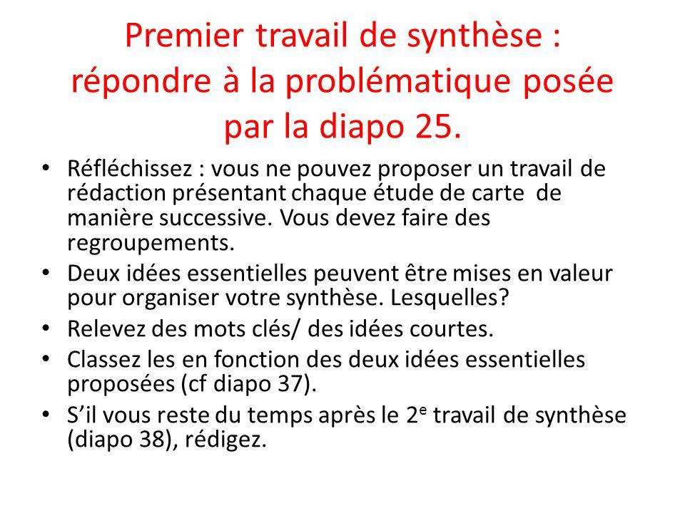Premier travail de synthèse : répondre à la problématique posée par la diapo 25.