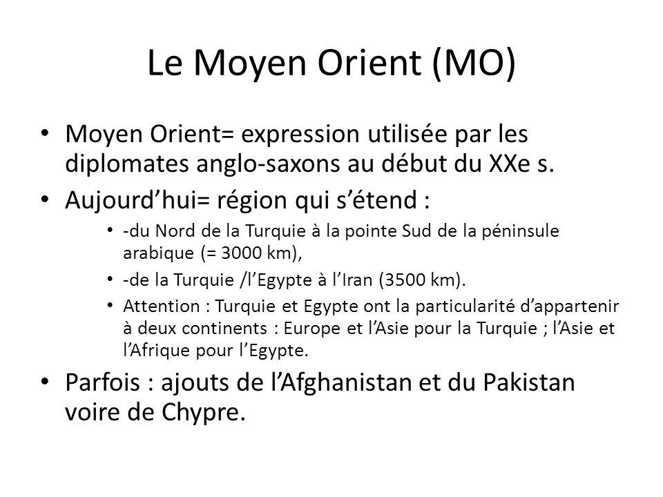 Le Moyen Orient (MO) Moyen Orient= expression utilisée par les diplomates anglo-saxons au début du XXe s.