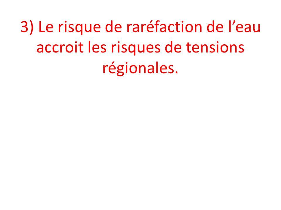 3) Le risque de raréfaction de l'eau accroit les risques de tensions régionales.