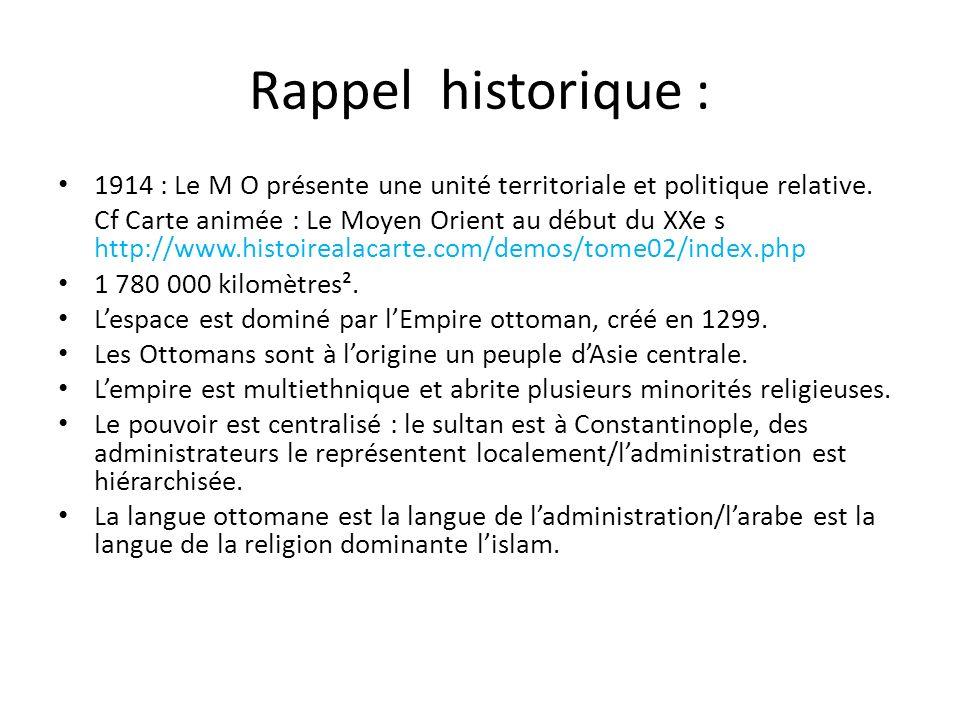 Rappel historique : 1914 : Le M O présente une unité territoriale et politique relative.