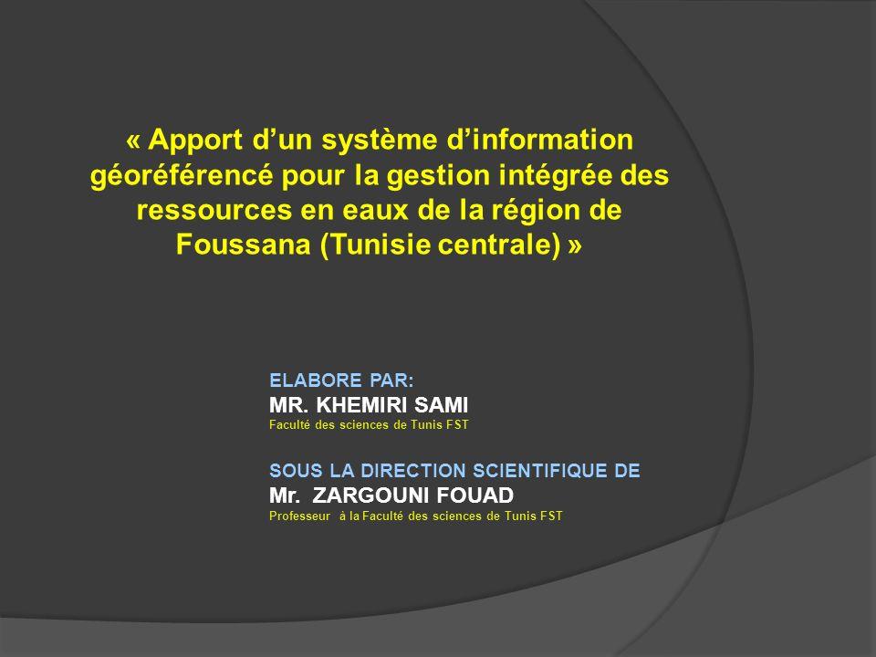 « Apport d'un système d'information géoréférencé pour la gestion intégrée des ressources en eaux de la région de Foussana (Tunisie centrale) »