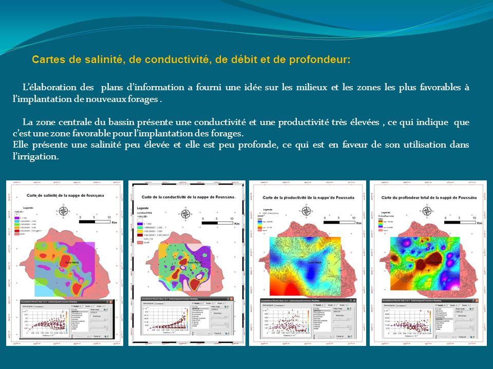 Cartes de salinité, de conductivité, de débit et de profondeur: