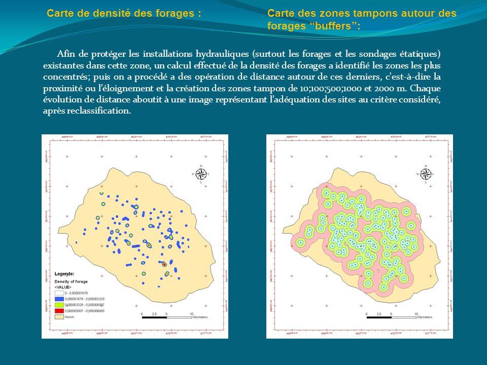 Carte de densité des forages :