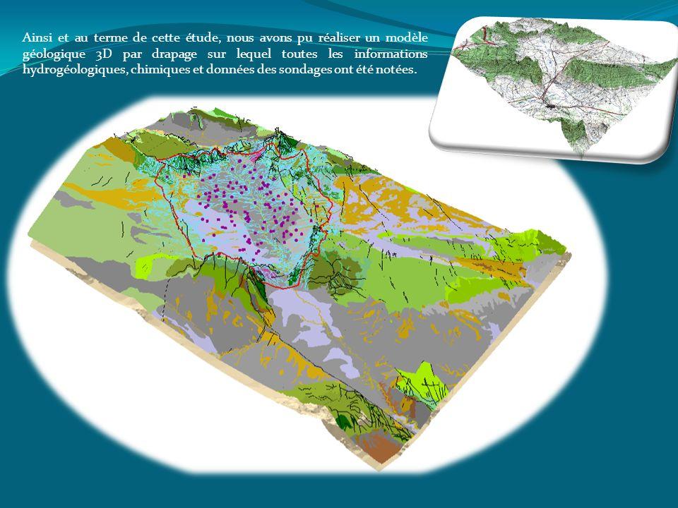 Ainsi et au terme de cette étude, nous avons pu réaliser un modèle géologique 3D par drapage sur lequel toutes les informations hydrogéologiques, chimiques et données des sondages ont été notées.