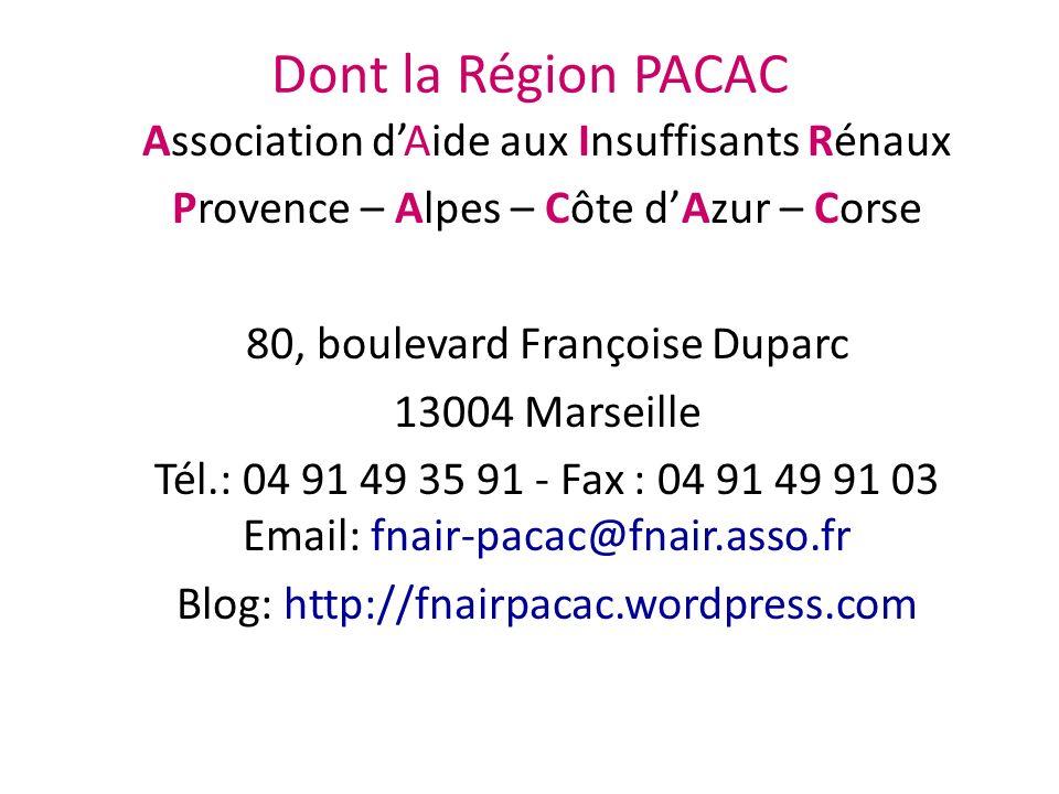 Dont la Région PACAC Association d'Aide aux Insuffisants Rénaux