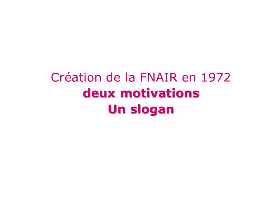 Création de la FNAIR en 1972 deux motivations Un slogan