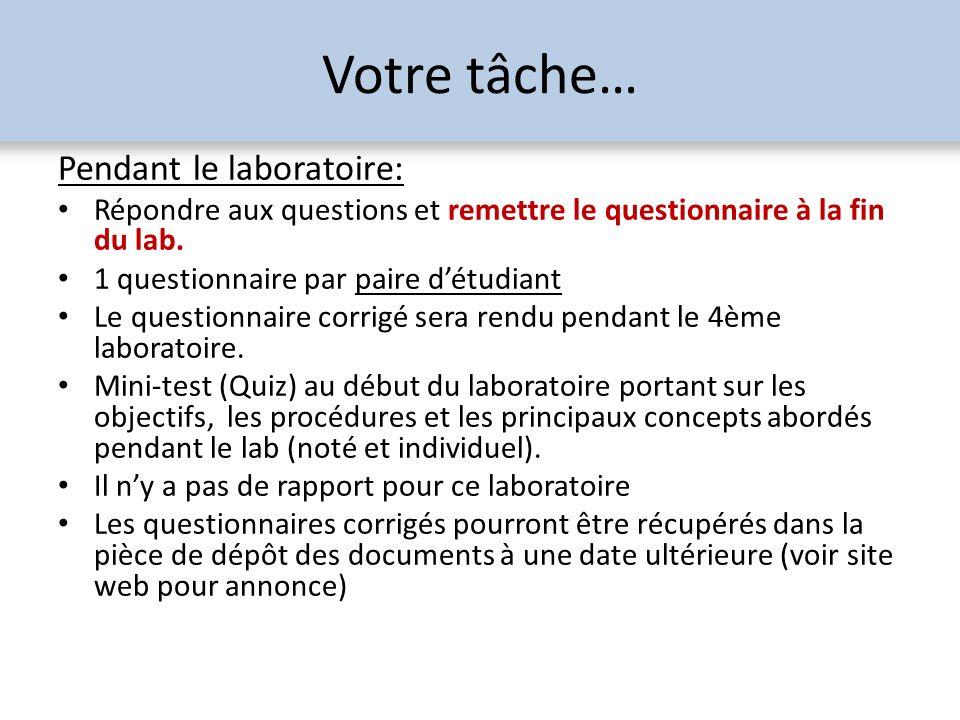 Votre tâche… Pendant le laboratoire: