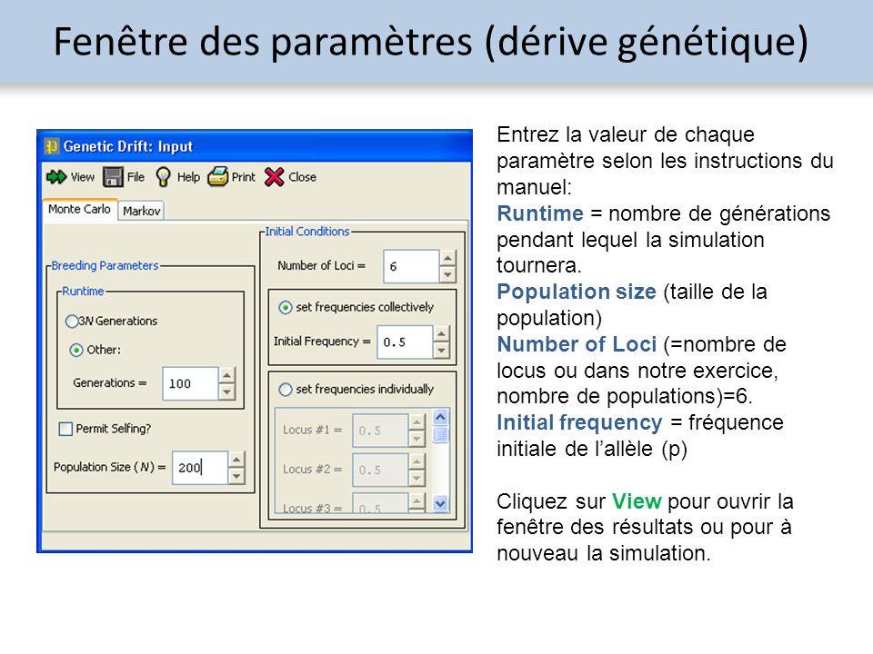 Fenêtre des paramètres (dérive génétique)