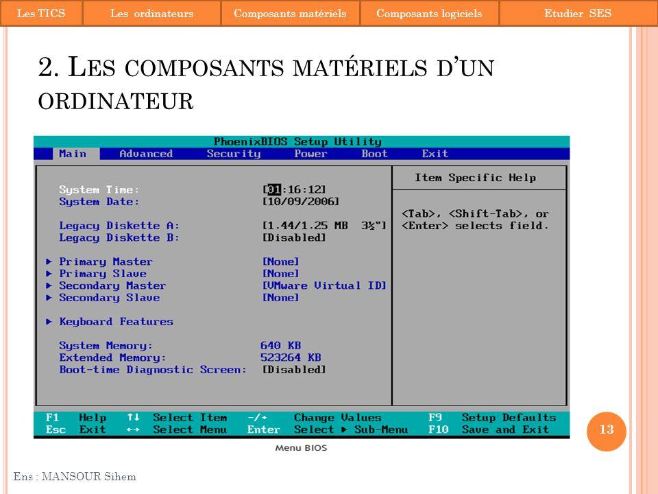 2. Les composants matériels d'un ordinateur