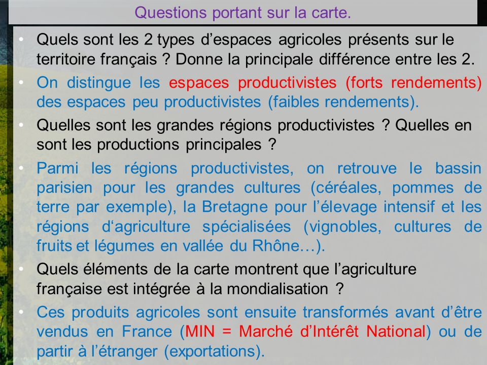 Questions portant sur la carte.