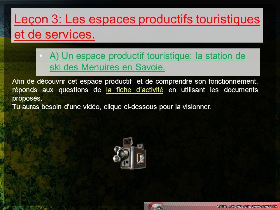 Leçon 3: Les espaces productifs touristiques et de services.