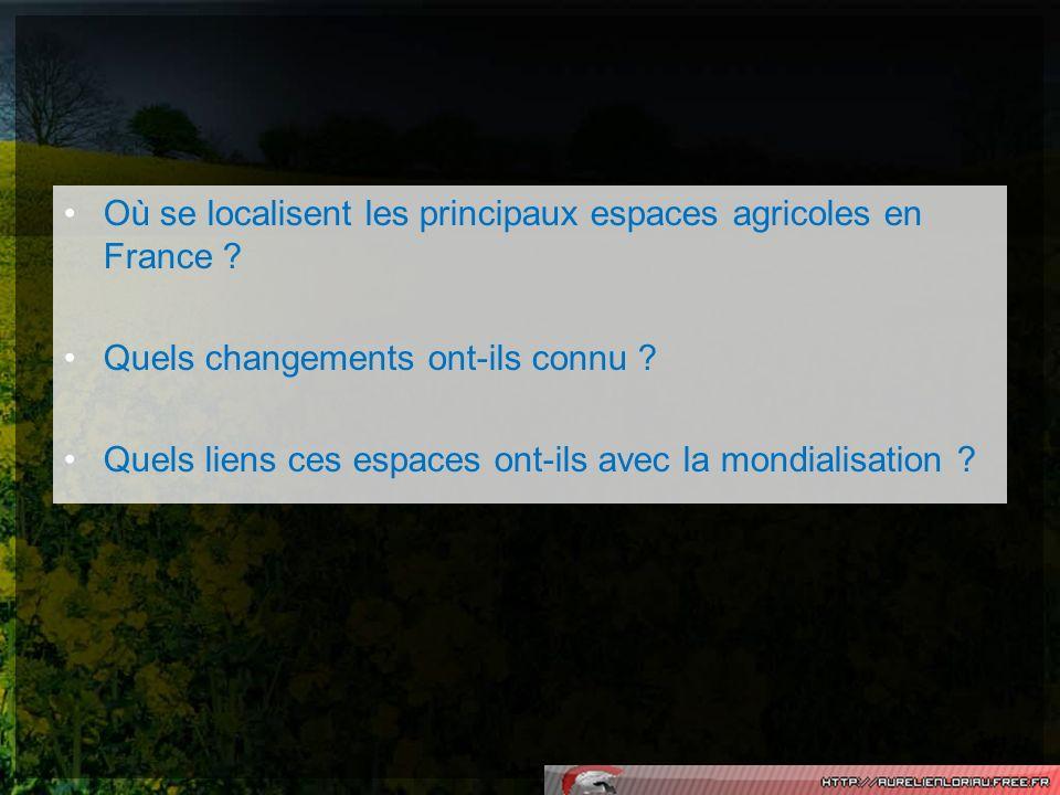 Où se localisent les principaux espaces agricoles en France
