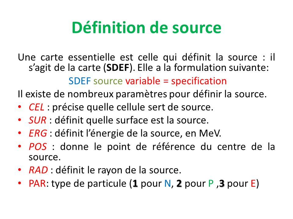 SDEF source variable = specification