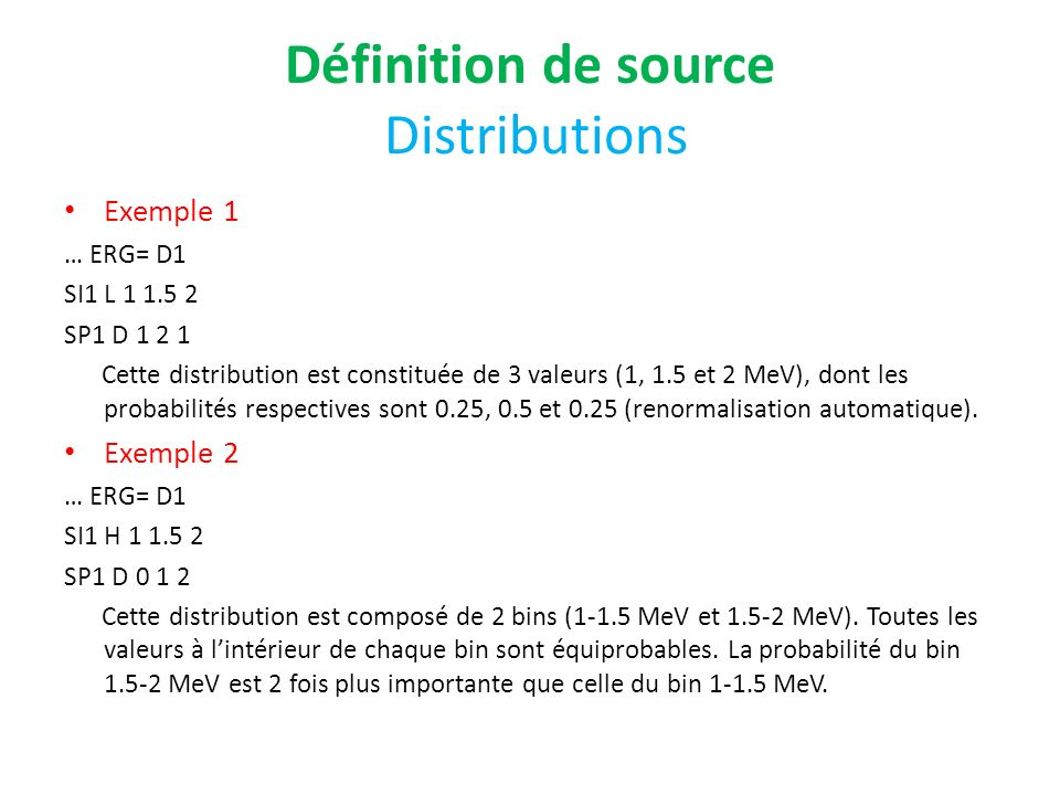 Définition de source Distributions