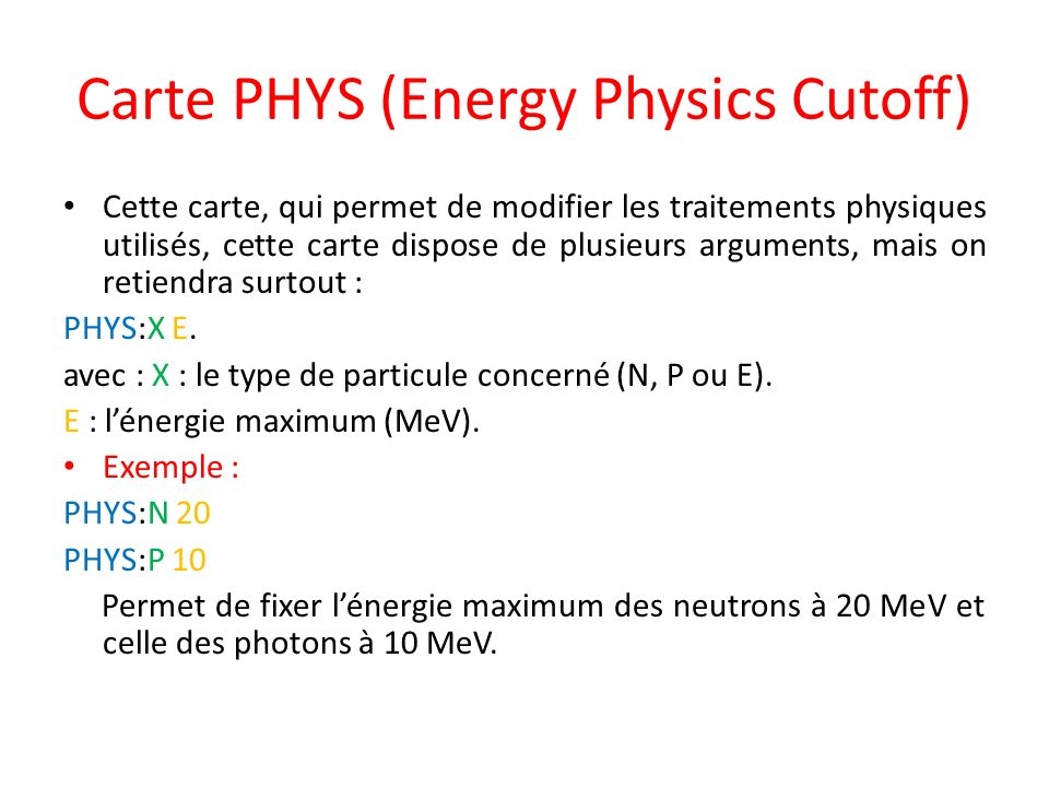 Carte PHYS (Energy Physics Cutoff)