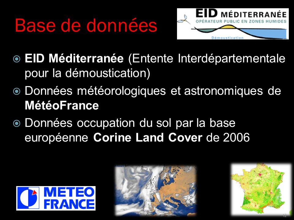 Base de données EID Méditerranée (Entente Interdépartementale pour la démoustication) Données météorologiques et astronomiques de MétéoFrance.