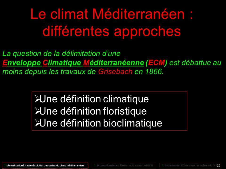 Le climat Méditerranéen : différentes approches