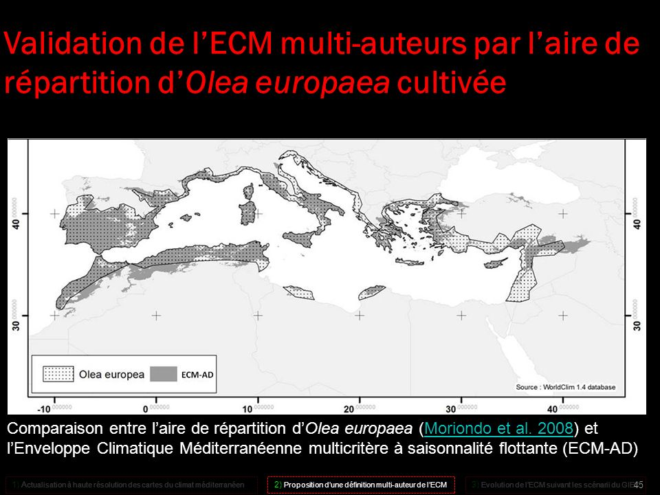 Validation de l'ECM multi-auteurs par l'aire de répartition d'Olea europaea cultivée