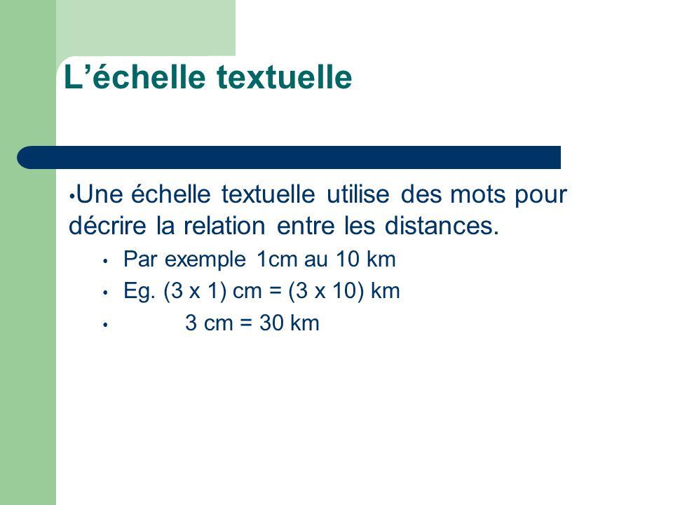 L'échelle textuelle Une échelle textuelle utilise des mots pour décrire la relation entre les distances.