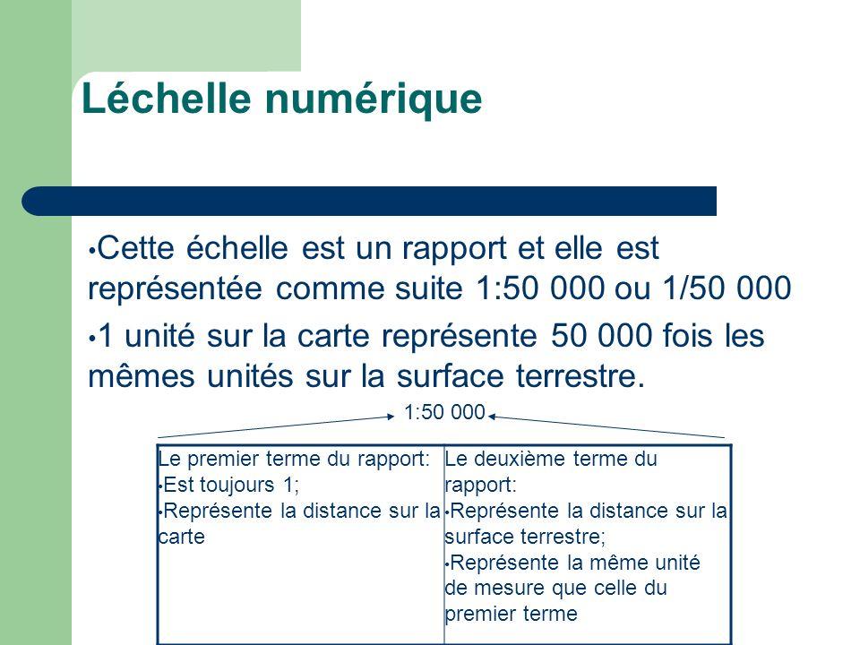Léchelle numériqueCette échelle est un rapport et elle est représentée comme suite 1:50 000 ou 1/50 000.