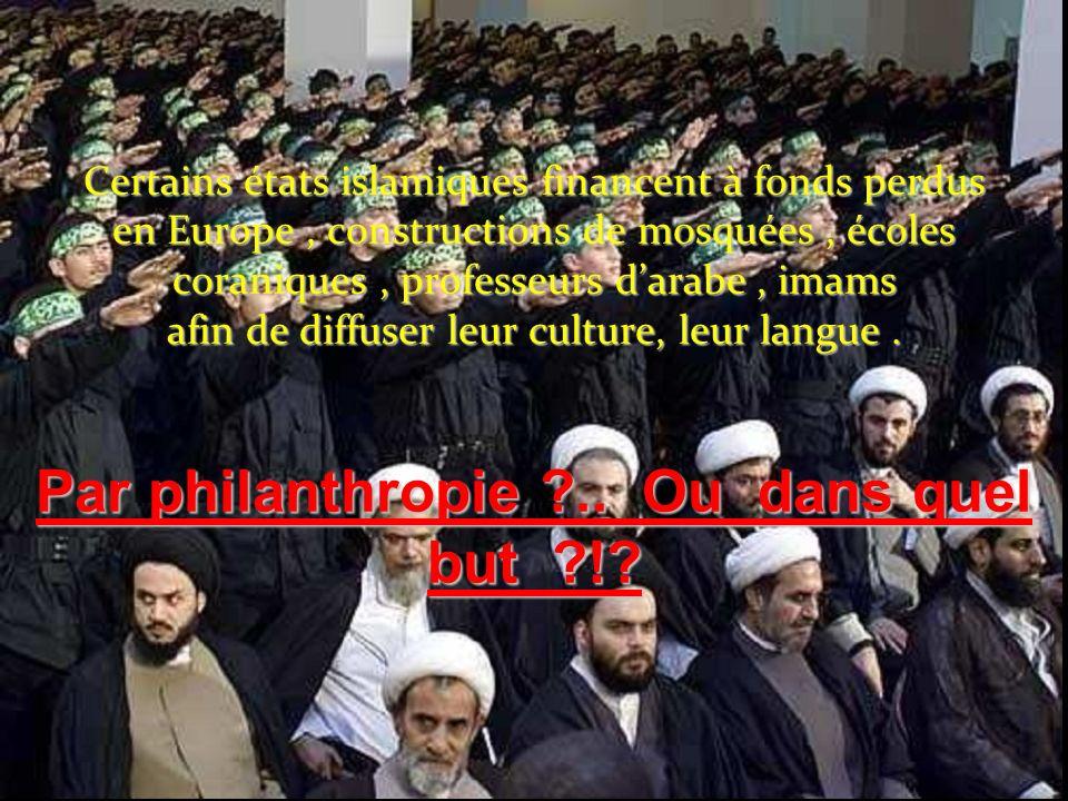 Certains états islamiques financent à fonds perdus en Europe , constructions de mosquées , écoles coraniques , professeurs d'arabe , imams afin de diffuser leur culture, leur langue .
